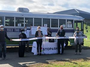 Ribbon Cutting held on 10/22/20 recognizing Stop & Shop's donation to the MxCC Magic Food Bus, the on-campus food pantry for food insecure students in need.