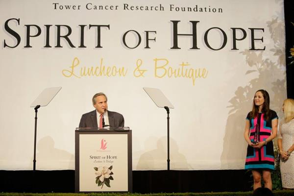 Dr. Jay Orringer accepting the Spirit of Hope Award at a luncheon hosted by the Tower Cancer Research Foundation's Magnolia Council.