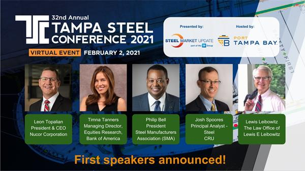First speakers of 32nd Annual Tampa Steel Conference announced.