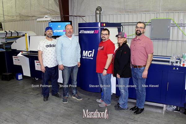 Marathon Press recently installed Konica Minolta's MGI JETvarnish 3D Web Press. Pictured L-R: Scott Pollman, Bruce Price, Steven Schmit, Robin Jensen and Max Alewel