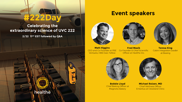 Healthe originates first #222Day celebration and spotlights the need to speed up education and adoption of revolutionary Far-UVC 222nm light technology.