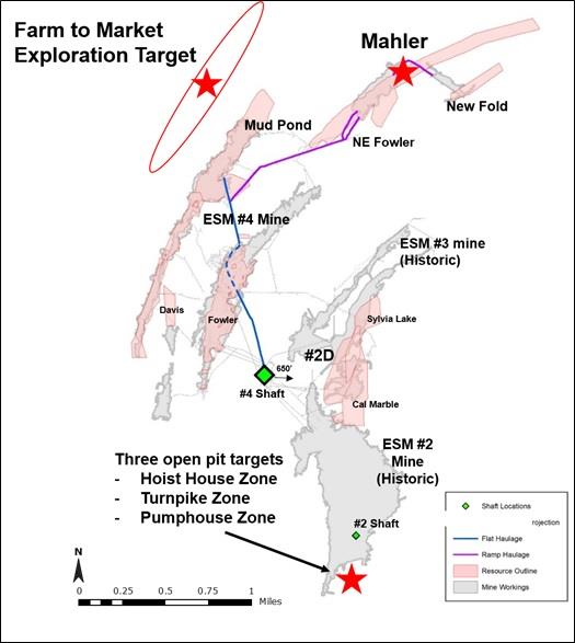 Figure 1 - PLan View of ESM Mineralized Zones