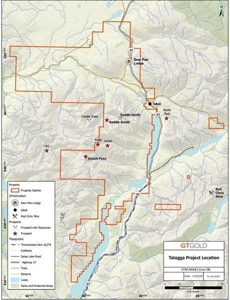 Location of Quash Pass prospect, Tatogga Project, northwestern BC.