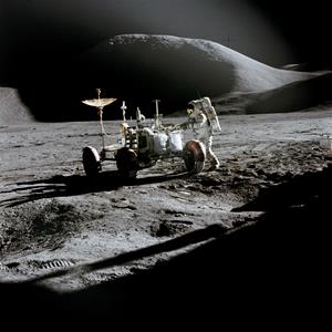 A Boeing Lunar Rover conducts its historic mission on the moon.