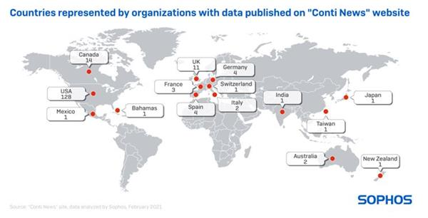 """Countries represented by organizations with data published on """"Conti News"""" website"""