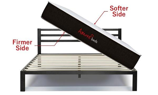 Amore Beds new flippable 2-sided mattress is perfect for those who just aren't sure what firmness is right for them.  There is no one universal mattress that fits all, so why not innovate and make a mattress that fits most with one side softer, and the other side firmer?