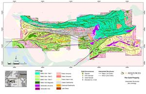 Figure 2: Pen Gold Project Geology Map with Structural Interpretation