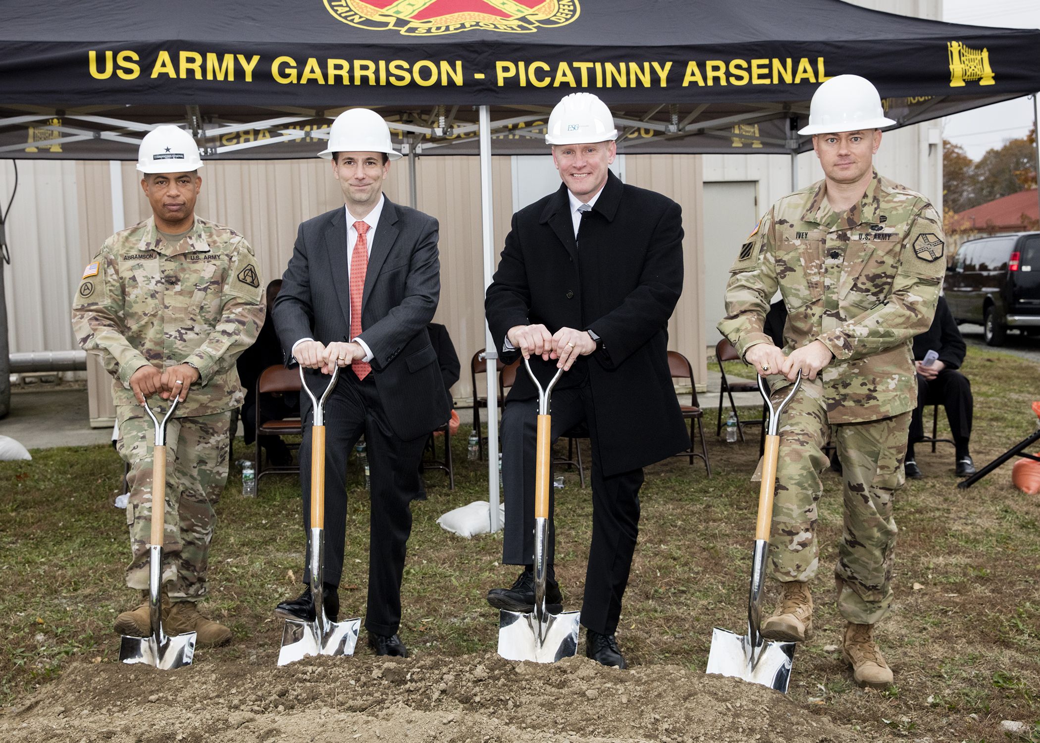 Pictured left from right: Brigadier General Alfred F. Abramson III, Senior Commander; Jordan Gillis, Acting Assistant Secretary of the Army Installations, Energy and Environment; Steven Spanbauer, Senior Vice President, Energy Systems Group; and Lieutenant Colonel Jeffrey Ivey, Garrison Commander.