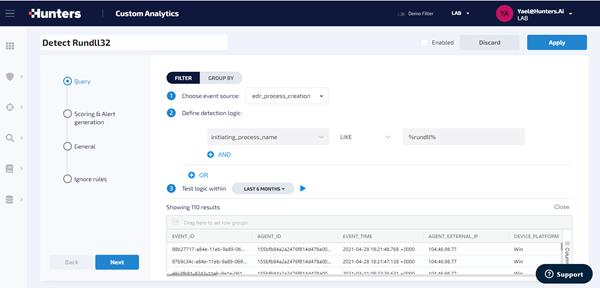 custom detections-analytics-hunters-xdr rundll32