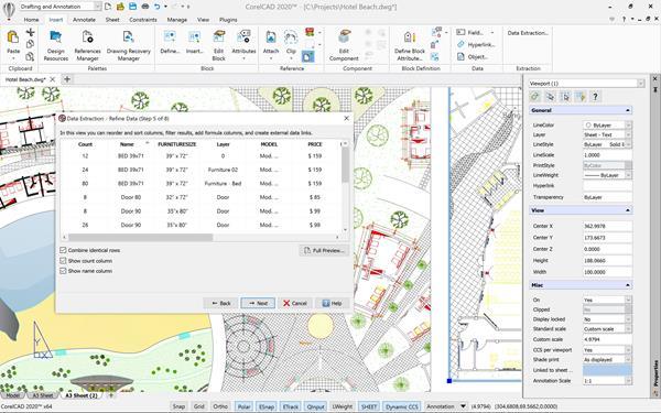 CorelCAD 2020 Data Extraction Wizard Windows