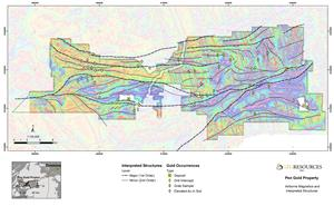 Figure 1: Pen Gold Project Magnetic Survey Results and Interpreted Structures