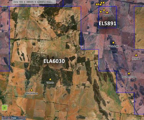 Fig-6-Earthwatch-Map-showing-location-of-EL5891-and-ELA6030-and-historic-gold-mines-in-yellow