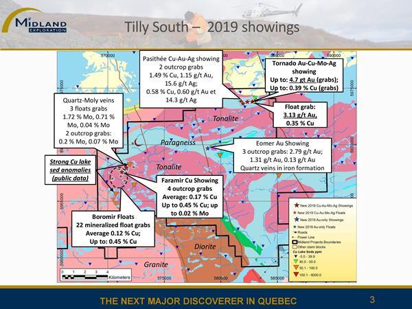 Bloc de claims Tilly Sud - Indices 2019