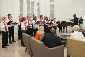 Church of Scientology Flag Choir performing in Scientology Information Center