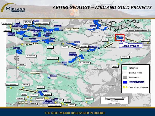 Figure 1 Abitibi Geology-Midland Gold Projects