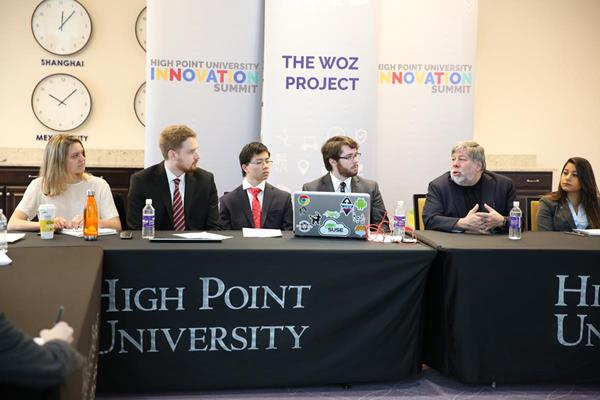 Wozniak held a working session with computer science students who he began mentoring in 2016 in their efforts to build an autonomous, self-driving vehicle.