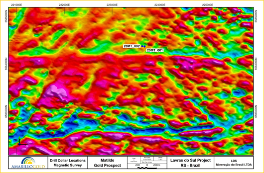 FIGURE 4: LOCATION OF DRILL HOLES 20MT_001 AND 20MT_002 RELATIVE TO MAGNETIC DATA