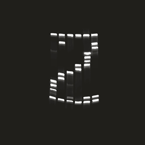 ZAGENO's gel electrophoresis logo; White and grey lines create the letter Z, it looks like a gel electrophoresis result