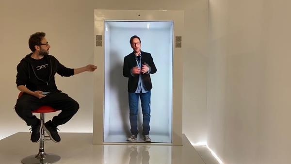 The Epic PORTL Hologram Machine powered by StoryFile's A.I. allows visitors to converse with life-like holograms.