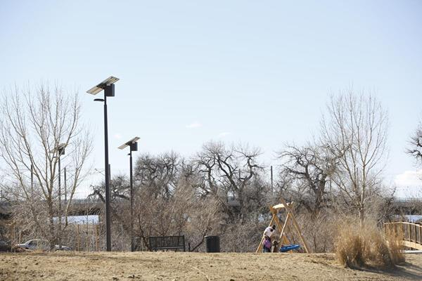 Sol's EverGen solar outdoor lights, the newest and most energy efficient solar lights, are installed in Sand Creek Park in Aurora, Colorado. The EverGen's improved technology processes solar power so efficiently, it allows for a more compact system, which reduces the overall system costs while still meeting municipal lighting requirements.