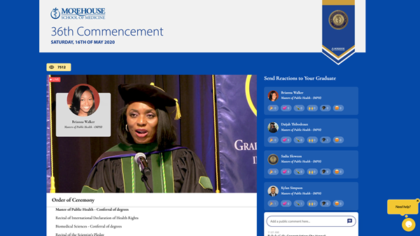Ngozi F. Anachebe, M.D., Pharm.D., F.A.C.O.G.. Associate Professor, Obstetrics & Gynecology and Associate Dean, Admissions and Student Affairs leads virtual conferral of degrees on Shared Studios platform for Morehouse School of Medicine's 36th Commencement Exercises on May 16, 2020.