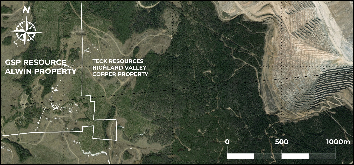 Alwin-HVC: Map of GSP Alwin Project and Highland Valley Copper (Valley Pit)