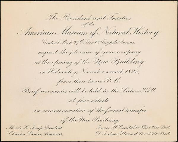 Invitation to the opening of the new building November 2, 1892. Museum of the City of New York, gift of Deaconess Nathalie E. Winser, X2012.100.23.
