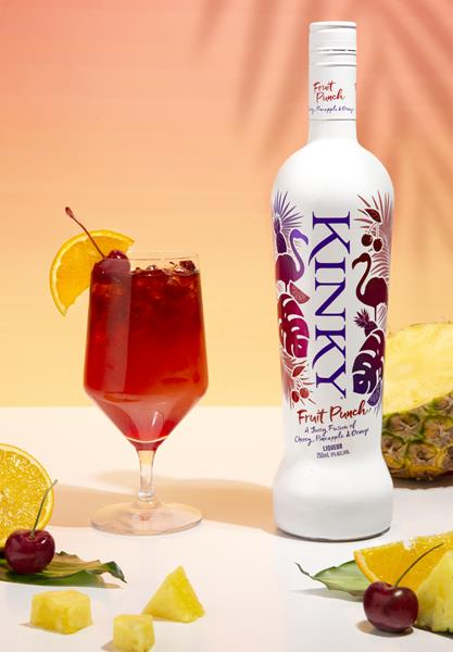 Kinky Fruit Punch Liqueur crafted with super premium vodka distilled 5 times