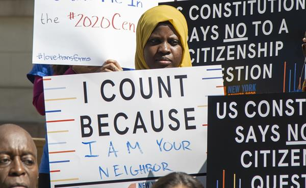 """""""I Count Because"""" sign used at a New York City Council press conference, April 23, 2019  Photograph by John McCarten; Courtesy John McCarten / New York City Council"""