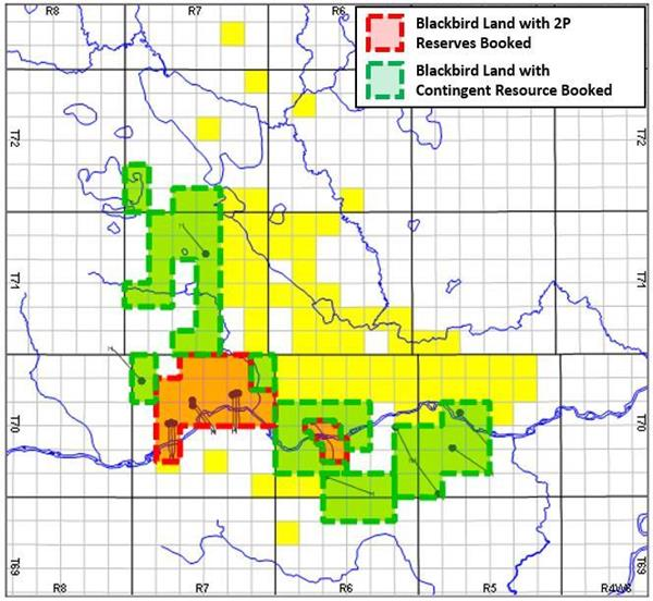 Blackbird's Lands with Contingent Resources Booked