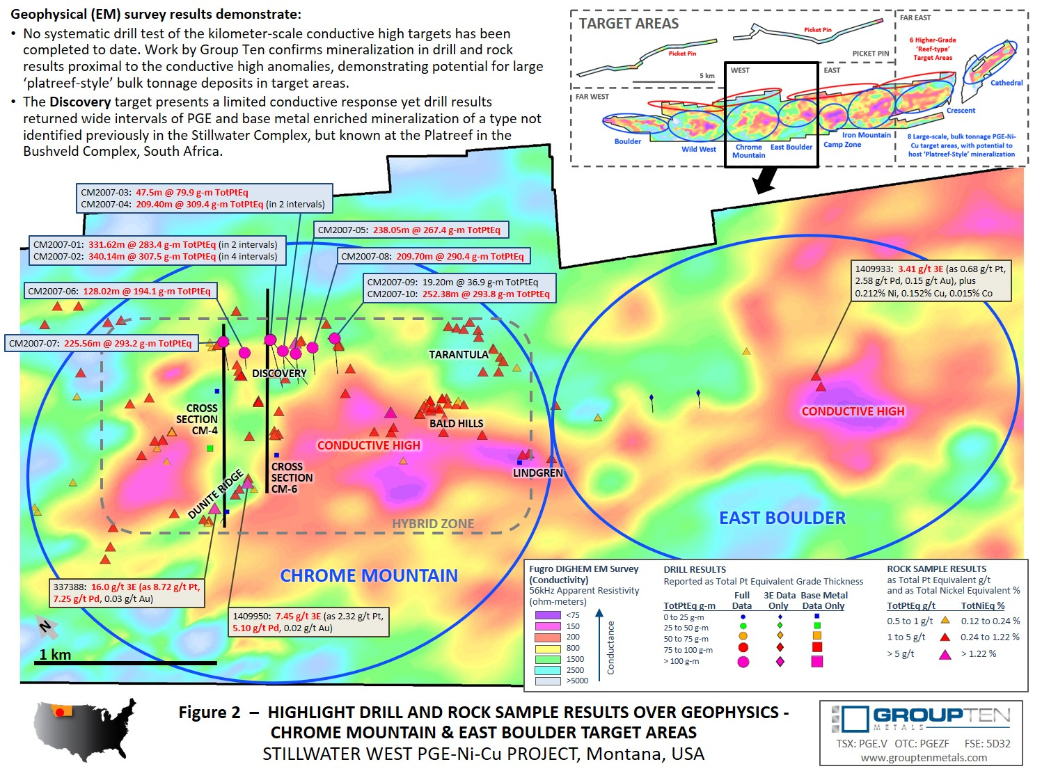 Figure 2  –  Highlight Drill and Rock Sample Results Over Geophysics - Chrome Mountain & East Boulder Target Areas