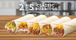 Del Taco's 2 for $5 Classic Burritos