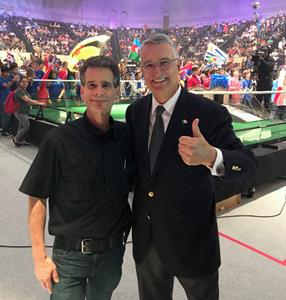Ricardo Salinas and Dean Kamen at the FIRST Global Challenge 2017
