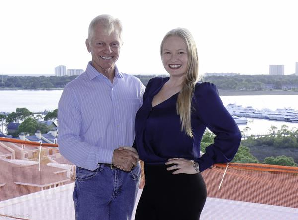 "(Photo Credit: Zplus Media Co.)  Tom Becnel, Chairman, Sandestin Investments, LLC, and his daughter, Sarah Becnel, Vice President of Development for Sandestin Golf and Beach Resort celebrate the ""topping out"" of the Hotel Effie Sandestin, an exquisite 250-room, family-owned hotel under construction within the gates of Sandestin Golf and Beach Resort, slated for opening in Summer 2020."
