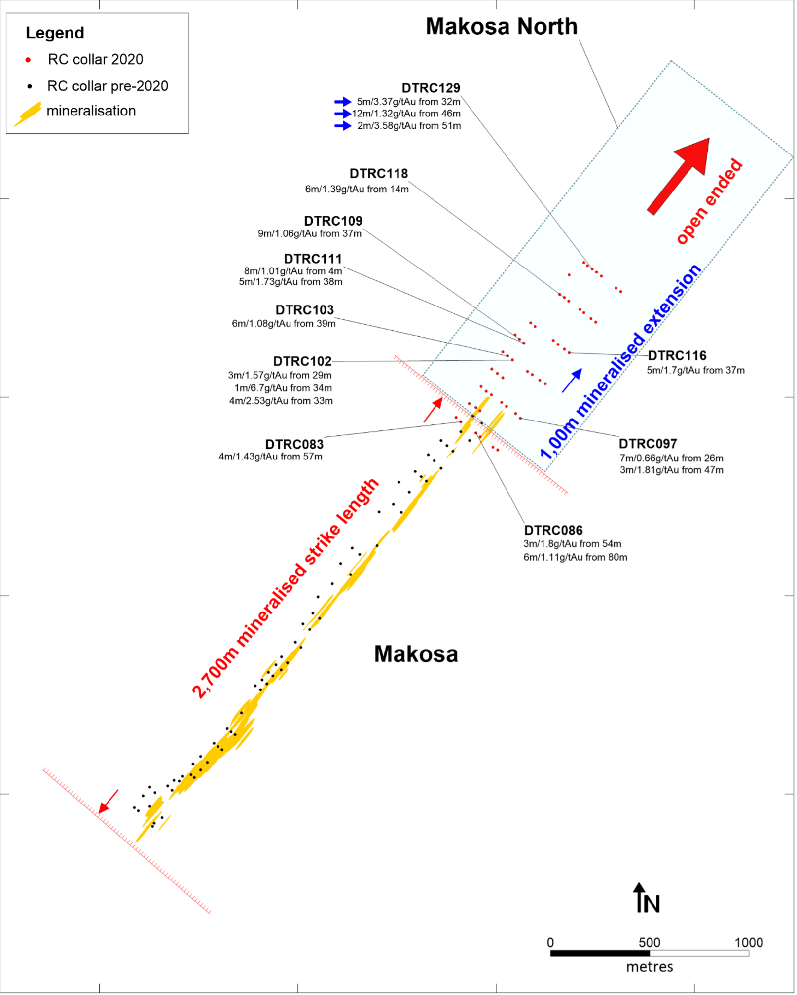 Figure 2- Makosa North drillhole location map