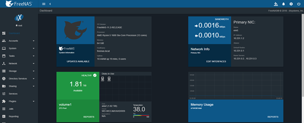 FreeNAS UI Screenshot smaller