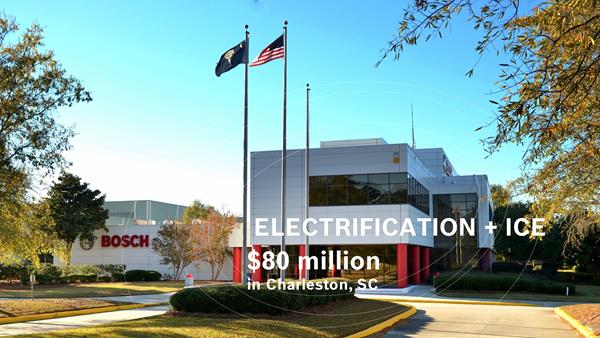 Between 2021 and 2023, Bosch will invest $80 million to support powertrain production for both electrification and internal combustion engine technology at its Charleston, South Carolina facility.