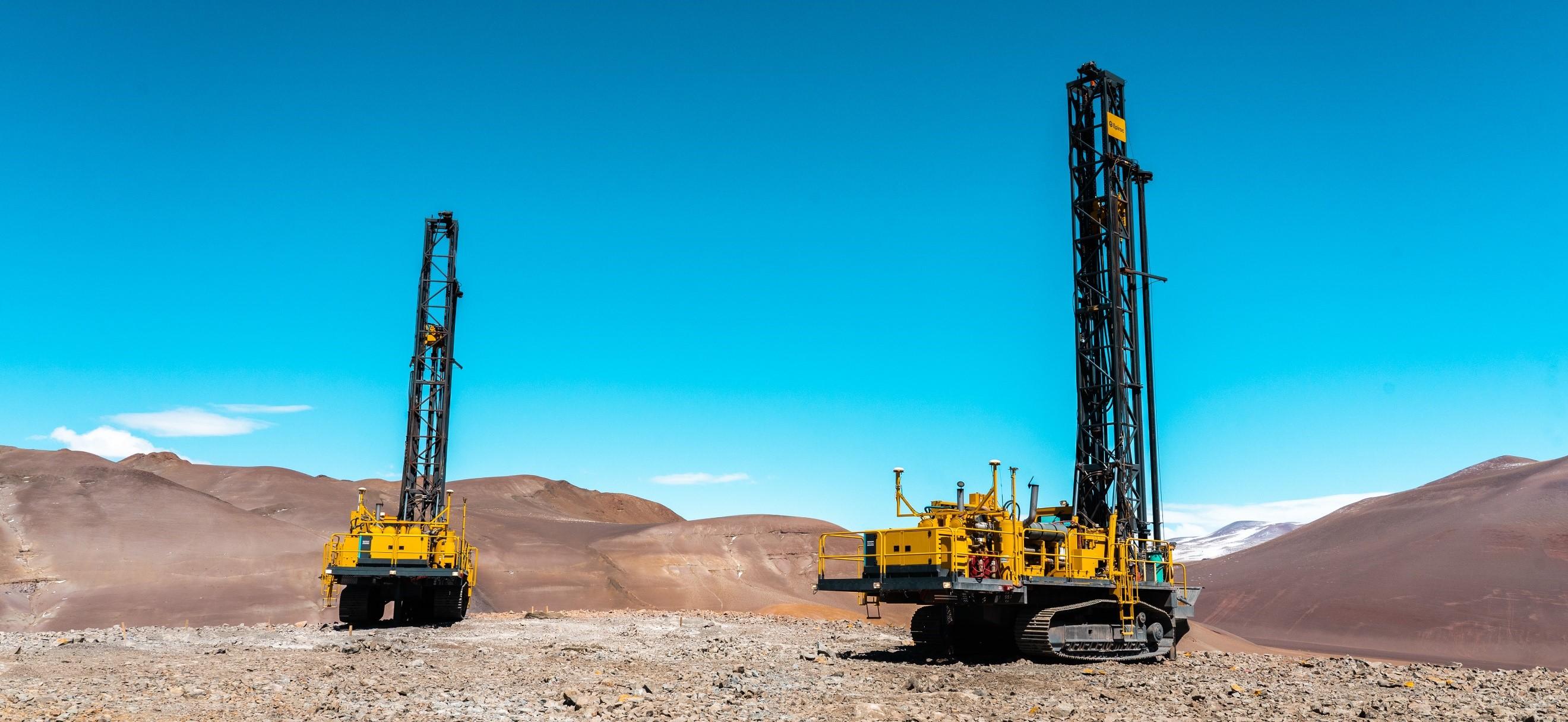 Blast hole drilling work at the Lindero Deposit