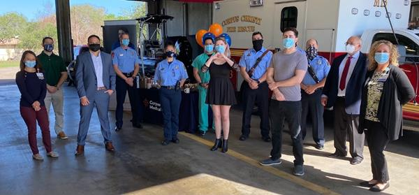 Sophia Beattie (center) is grateful to reunite with the doctors and nurses from Corpus Christi Medical Center and the City of Corpus Christi EMS professionals who cared for her after a life threatening motorcycle accident in November 2020.