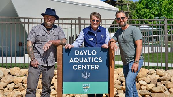 Camp Southern Ground founder Zac Brown and CEO Mike Dobbs stand with Ben Weiss of the DAYLO Foundation