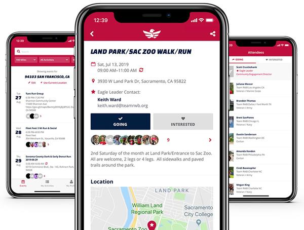 Designed as an antidote for the isolation that many veterans face, the Team RWB app provides veterans and civilian supporters with instant access to thousands of physical, social, and service-oriented events led by volunteers throughout the country.