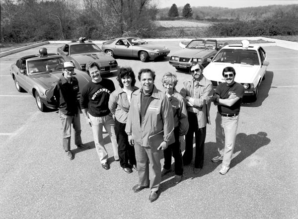 John Davis (center) and the MotorWeek crew, circa 1982