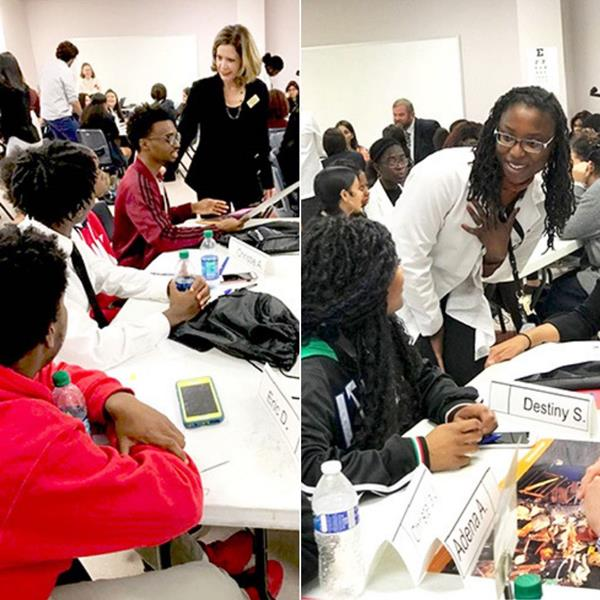 (L) Associate Dean for Diversity, Inclusion, and Public Impact Elena Marty-Nelson works with students (R) Nikette A. Neal, M.D., FAAP speaking with high school students