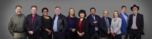 Pictured from left to right: Lee Neely, Bob Corey, Neda Gray, Hugh Bussell, Robin Morris, Chung Bothwell, John Freeman, John Stein, Mila Shapovalov, Clay Smith, Peter Goldstein