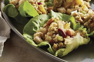 Chipotle Chicken and Bean Quinoa Salad Cups with Cilantro Lime Vinaigrette