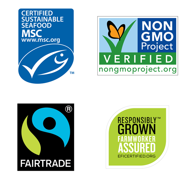 These four labels provide independent assurance the companies have followed rigorous standards in sourcing their products.