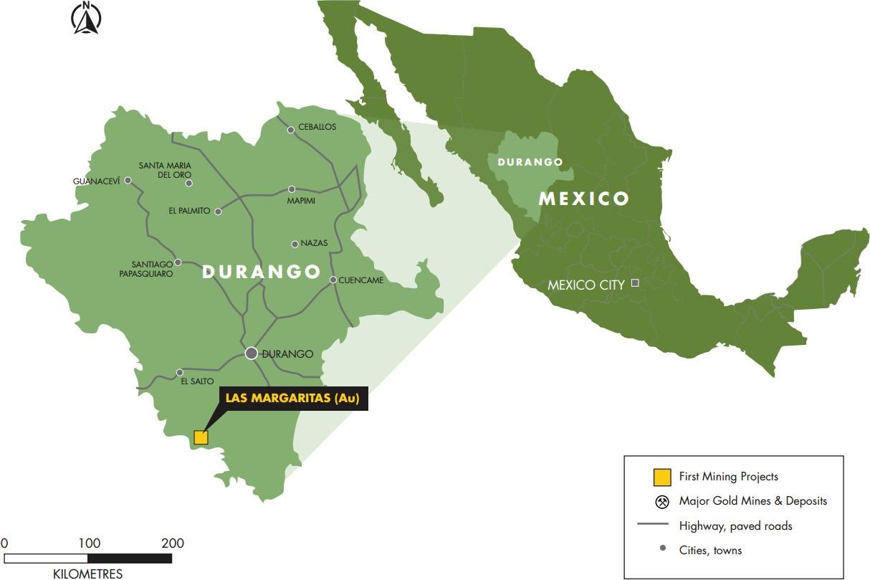 Figure 1: Location of Las Margaritas Property in Durango State, Mexico