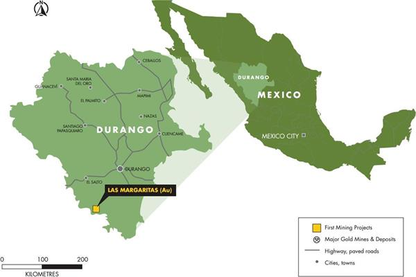Figure 1: Location of Las Margaritas Property in Durango State, Mexico