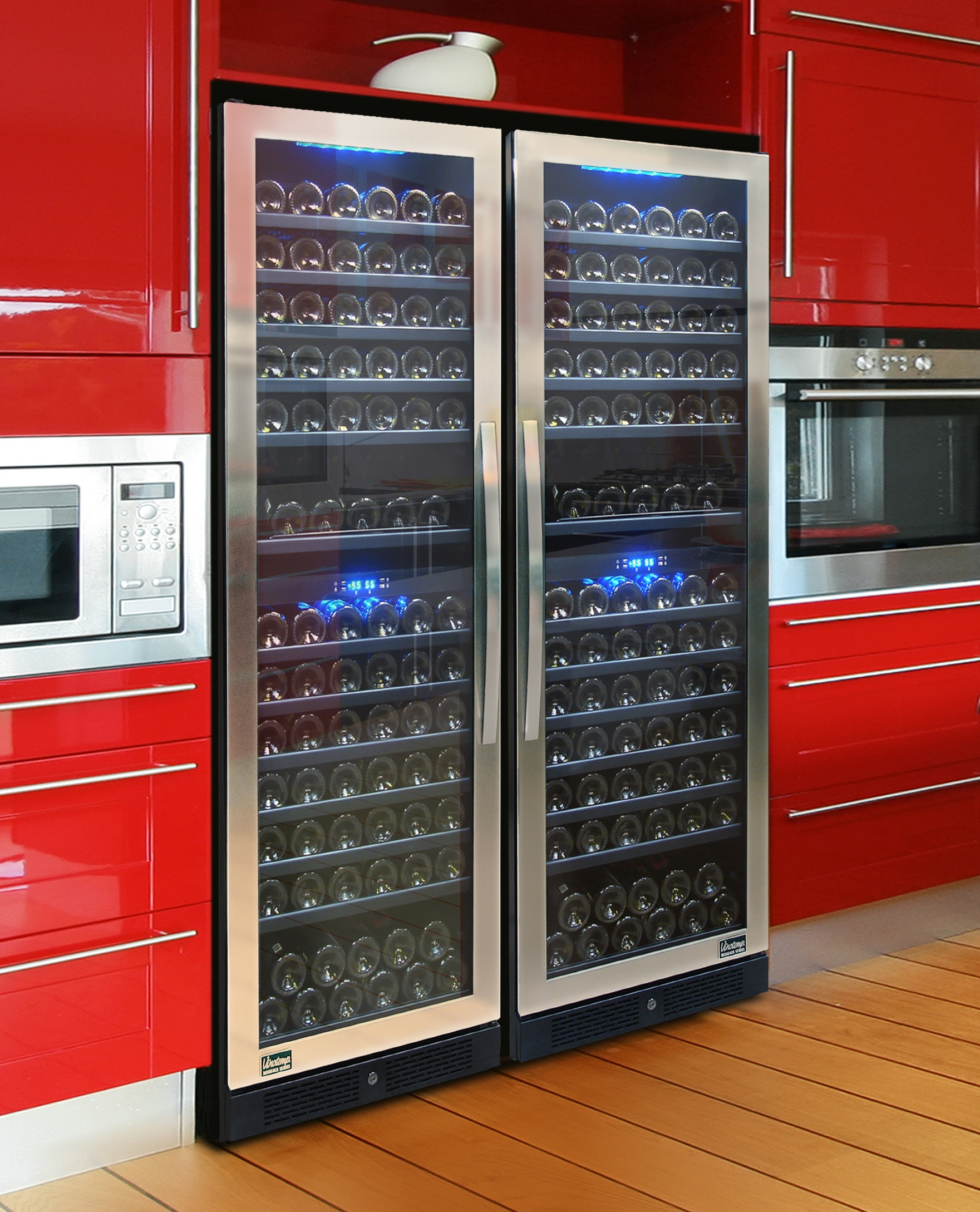 dual install of vinotemp designer series 149 bottle seamless dualzone wine cooler with new standard feature vinotemp blu blue led wine cooler interior - Vinotemp