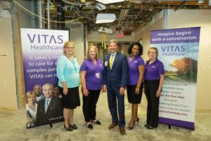 left to right vitas of dallas executives senior vp of operations craig tidwell general manager marilyn conley vp of operations kathy prechtel